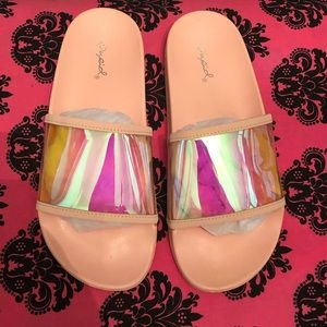 Pink reflective sandals